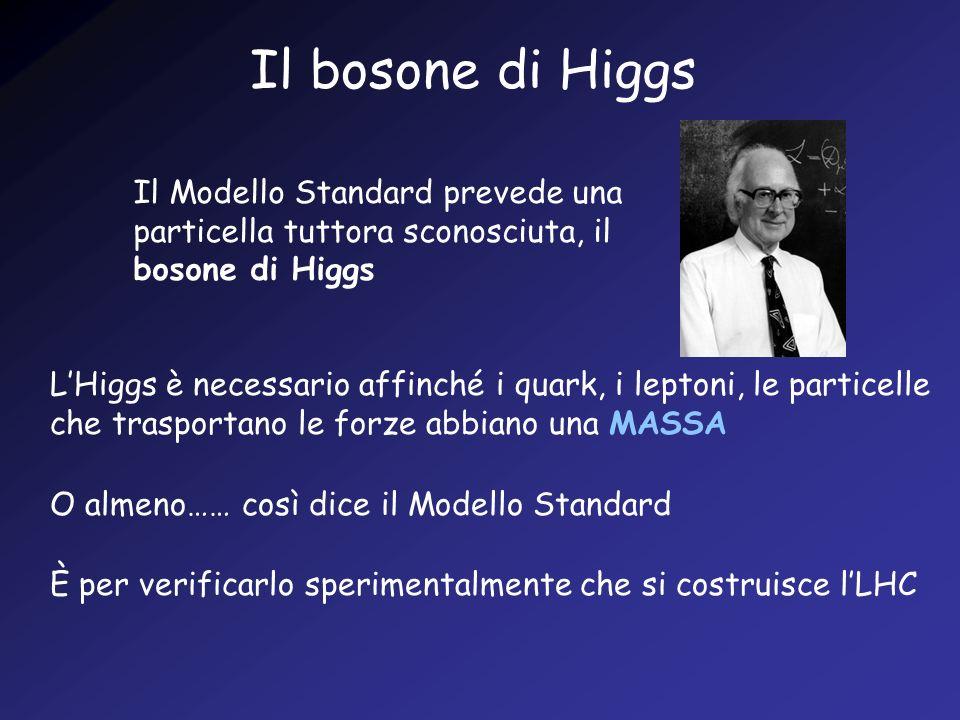 Il bosone di Higgs Il Modello Standard prevede una particella tuttora sconosciuta, il bosone di Higgs LHiggs è necessario affinché i quark, i leptoni,