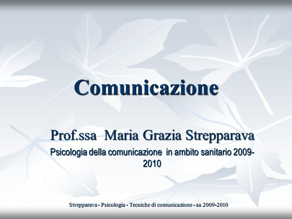 Comunicazione Prof.ssa Maria Grazia Strepparava Psicologia della comunicazione in ambito sanitario 2009- 2010 Strepparava - Psicologia - Tecniche di c