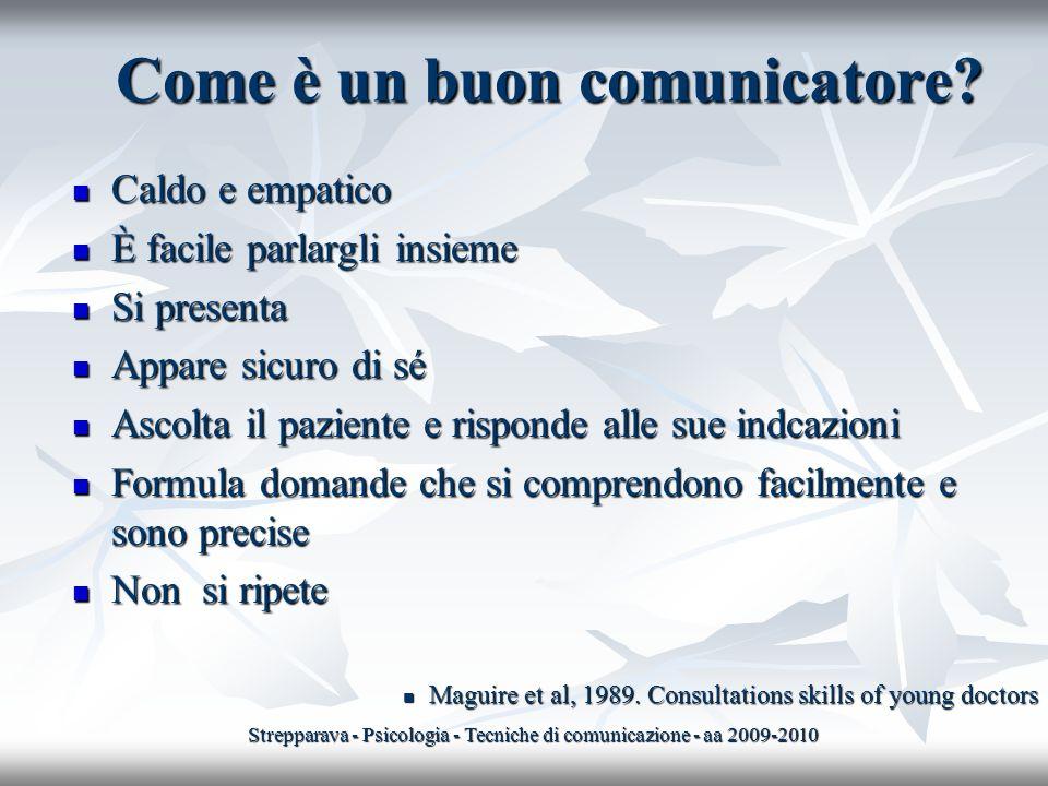 Come è un buon comunicatore? Caldo e empatico Caldo e empatico È facile parlargli insieme È facile parlargli insieme Si presenta Si presenta Appare si