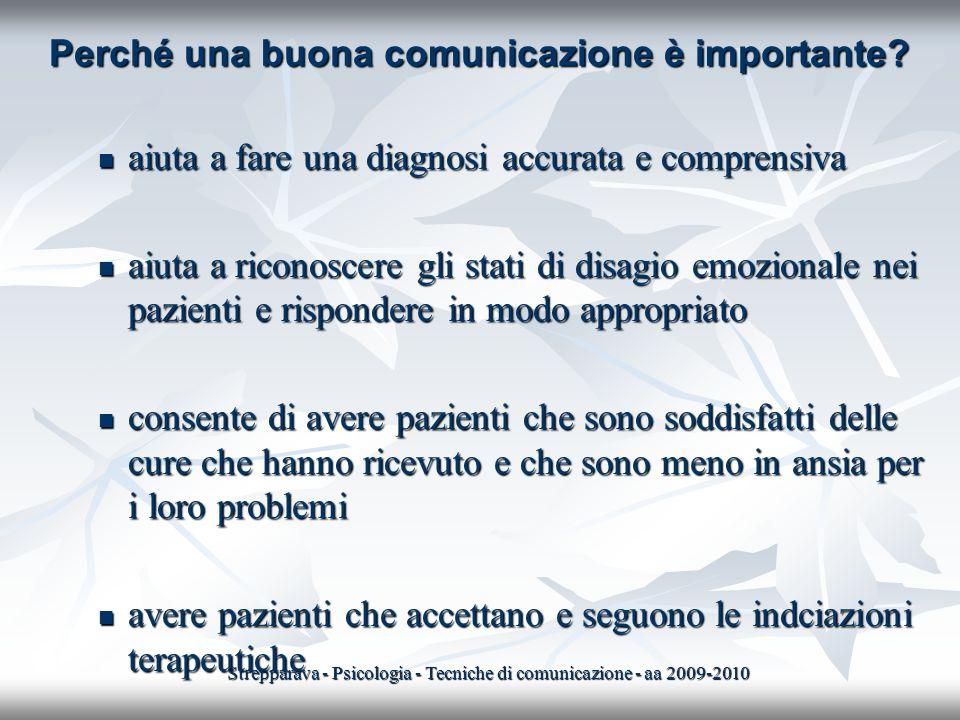 Perché una buona comunicazione è importante? aiuta a fare una diagnosi accurata e comprensiva aiuta a fare una diagnosi accurata e comprensiva aiuta a