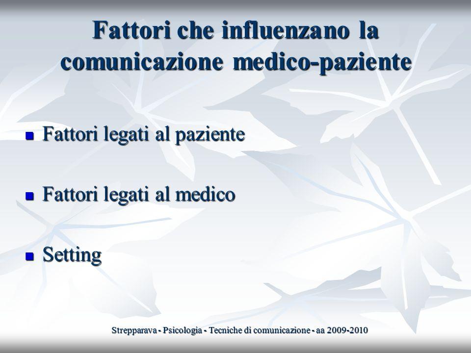Fattori che influenzano la comunicazione medico-paziente Fattori legati al paziente Fattori legati al paziente Fattori legati al medico Fattori legati
