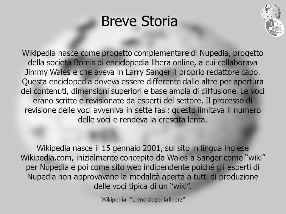 Wikipedia - L enciclopedia libera Breve Storia Wikipedia nasce come progetto complementare di Nupedia, progetto della società Bomis di enciclopedia libera online, a cui collaborava Jimmy Wales e che aveva in Larry Sanger il proprio redattore capo.