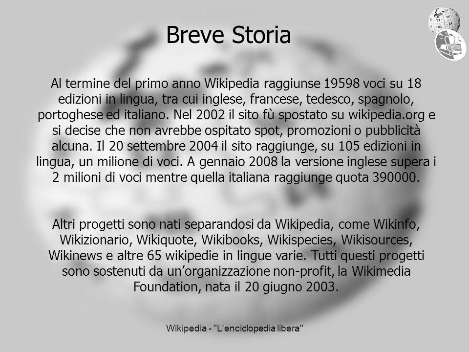 Wikipedia - L enciclopedia libera Breve Storia Al termine del primo anno Wikipedia raggiunse 19598 voci su 18 edizioni in lingua, tra cui inglese, francese, tedesco, spagnolo, portoghese ed italiano.