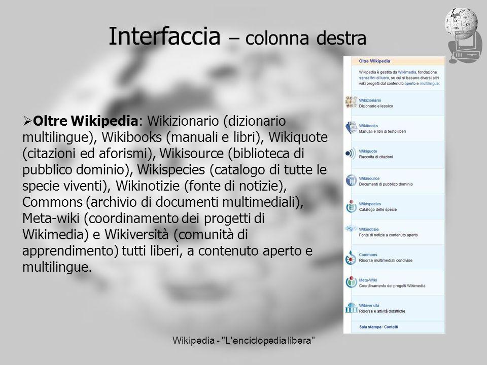 Wikipedia - L enciclopedia libera Interfaccia – colonna destra Oltre Wikipedia: Wikizionario (dizionario multilingue), Wikibooks (manuali e libri), Wikiquote (citazioni ed aforismi), Wikisource (biblioteca di pubblico dominio), Wikispecies (catalogo di tutte le specie viventi), Wikinotizie (fonte di notizie), Commons (archivio di documenti multimediali), Meta-wiki (coordinamento dei progetti di Wikimedia) e Wikiversità (comunità di apprendimento) tutti liberi, a contenuto aperto e multilingue.