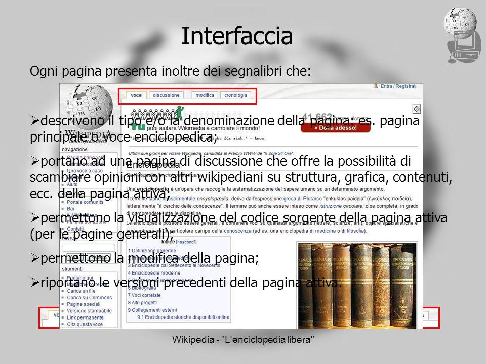 Wikipedia - L enciclopedia libera Interfaccia Ogni pagina presenta inoltre dei segnalibri che: descrivono il tipo e/o la denominazione della pagina: es.