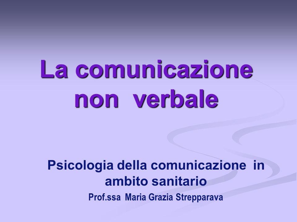 La comunicazione non verbale Psicologia della comunicazione in ambito sanitario Prof.ssa Maria Grazia Strepparava