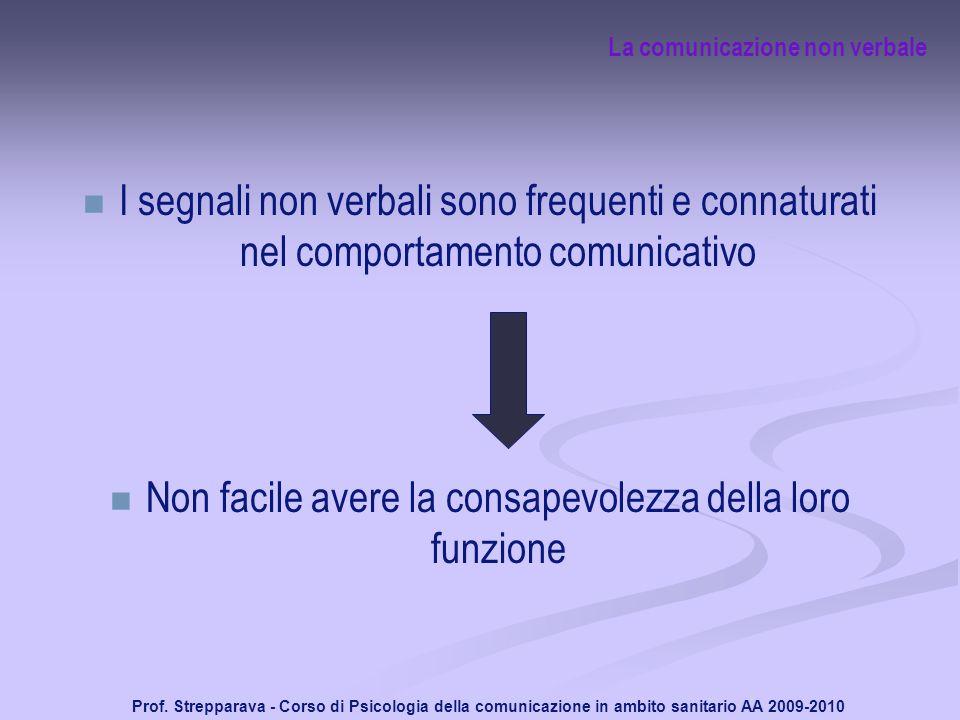 Prof. Strepparava - Corso di Psicologia della comunicazione in ambito sanitario AA 2009-2010 La comunicazione non verbale I segnali non verbali sono f
