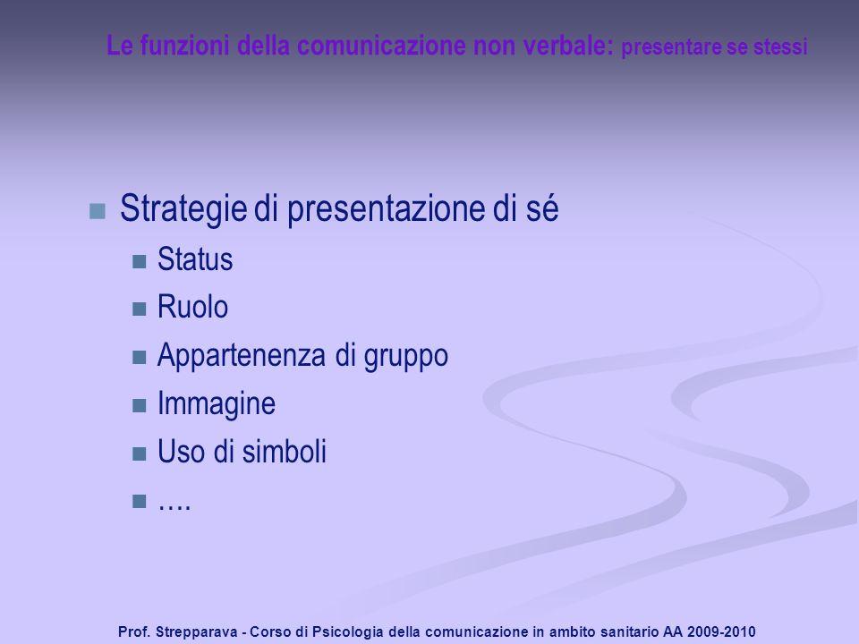 Prof. Strepparava - Corso di Psicologia della comunicazione in ambito sanitario AA 2009-2010 Le funzioni della comunicazione non verbale: presentare s