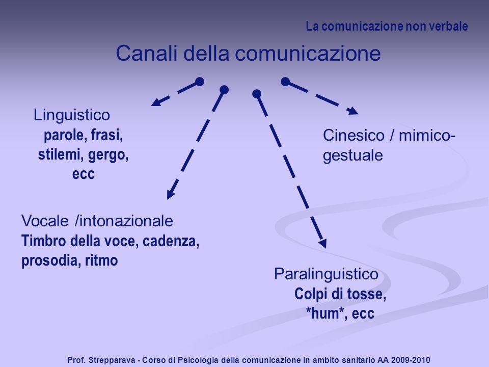 Prof. Strepparava - Corso di Psicologia della comunicazione in ambito sanitario AA 2009-2010 La comunicazione non verbale Canali della comunicazione L
