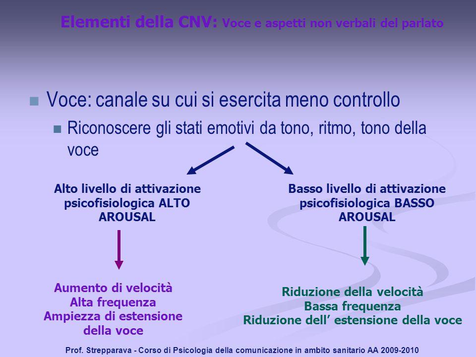 Prof. Strepparava - Corso di Psicologia della comunicazione in ambito sanitario AA 2009-2010 Elementi della CNV: Voce e aspetti non verbali del parlat