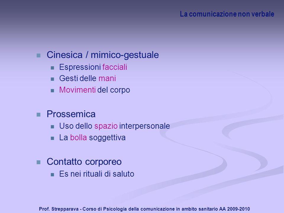 Prof. Strepparava - Corso di Psicologia della comunicazione in ambito sanitario AA 2009-2010 La comunicazione non verbale Cinesica / mimico-gestuale E