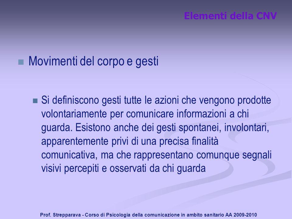 Prof. Strepparava - Corso di Psicologia della comunicazione in ambito sanitario AA 2009-2010 Elementi della CNV Movimenti del corpo e gesti Si definis