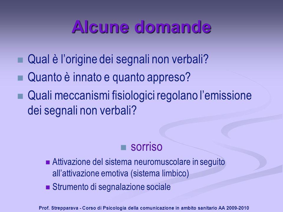 Prof. Strepparava - Corso di Psicologia della comunicazione in ambito sanitario AA 2009-2010 Alcune domande Qual è lorigine dei segnali non verbali? Q