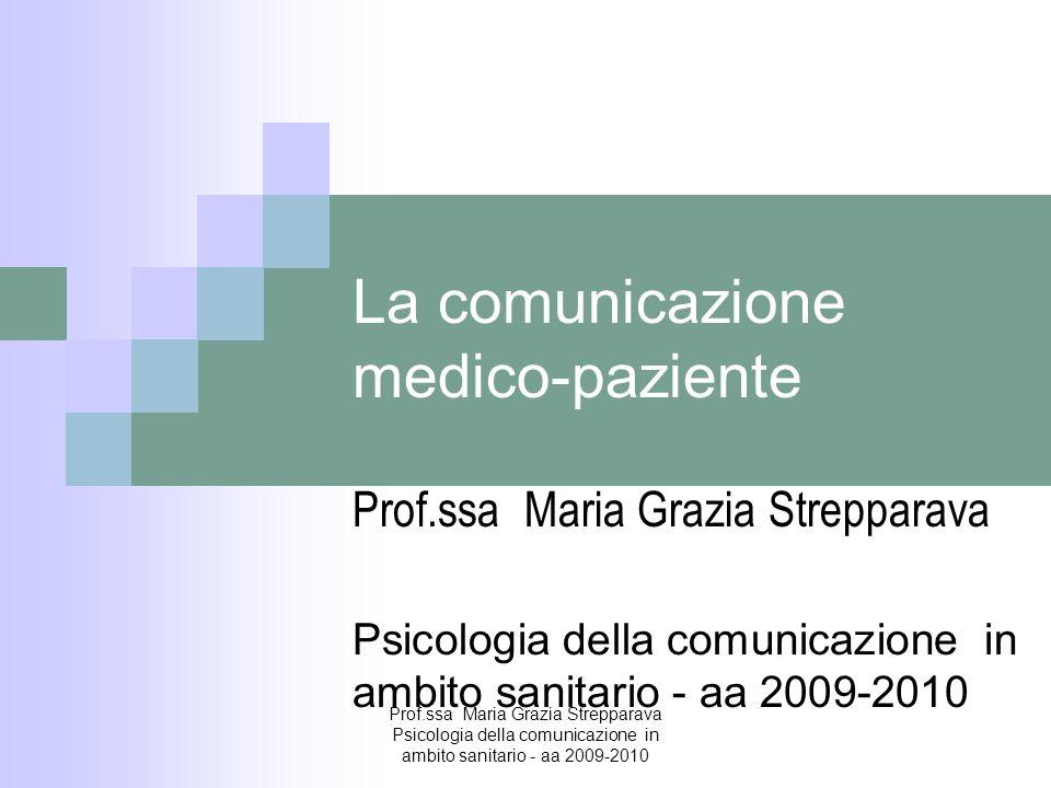 La comunicazione medico-paziente Prof.ssa Maria Grazia Strepparava Psicologia della comunicazione in ambito sanitario - aa 2009-2010 Prof.ssa Maria Gr