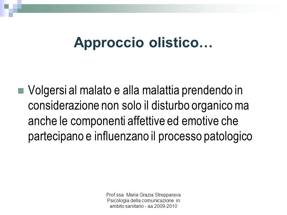 Approccio olistico… Volgersi al malato e alla malattia prendendo in considerazione non solo il disturbo organico ma anche le componenti affettive ed e
