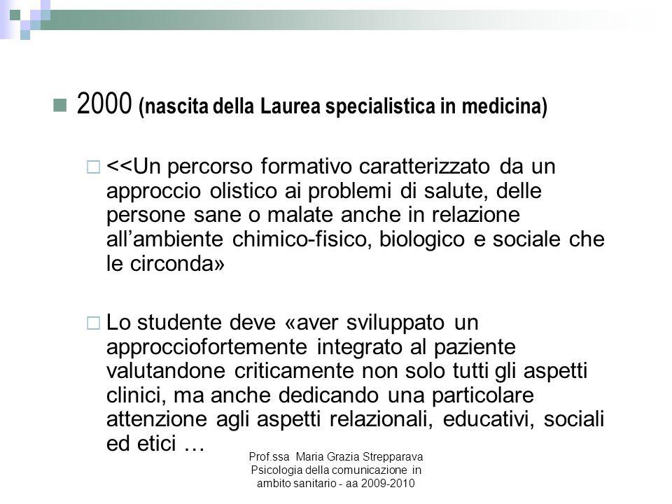 2000 (nascita della Laurea specialistica in medicina) <<Un percorso formativo caratterizzato da un approccio olistico ai problemi di salute, delle per