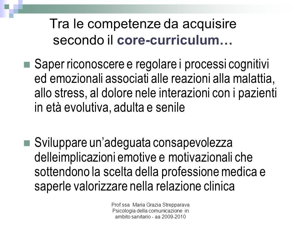Tra le competenze da acquisire secondo il core-curriculum… Saper riconoscere e regolare i processi cognitivi ed emozionali associati alle reazioni all