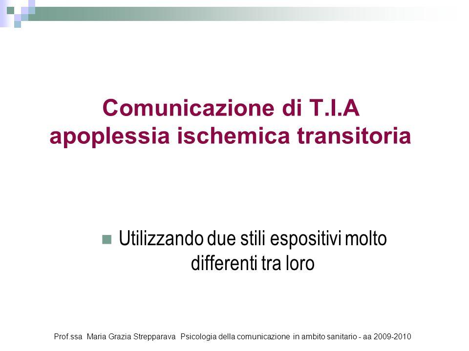 Comunicazione di T.I.A apoplessia ischemica transitoria Utilizzando due stili espositivi molto differenti tra loro Prof.ssa Maria Grazia Strepparava P