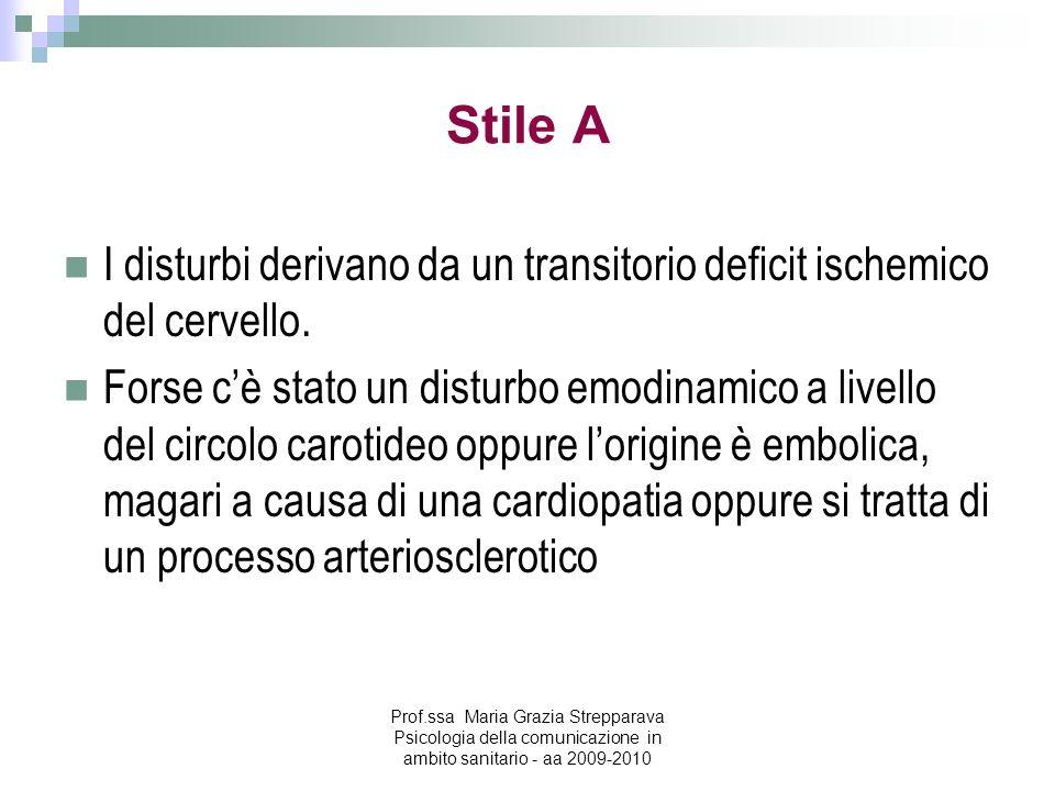 Stile A I disturbi derivano da un transitorio deficit ischemico del cervello. Forse cè stato un disturbo emodinamico a livello del circolo carotideo o