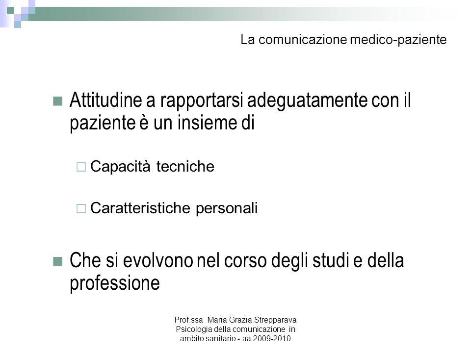 La comunicazione medico-paziente Attitudine a rapportarsi adeguatamente con il paziente è un insieme di Capacità tecniche Caratteristiche personali Ch