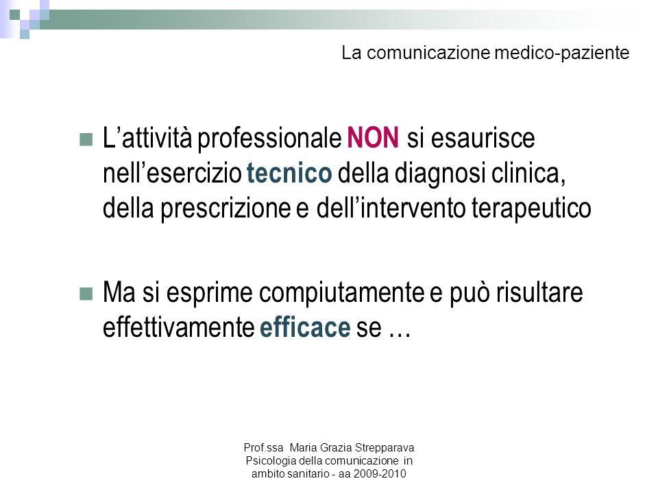 La comunicazione medico-paziente Lattività professionale NON si esaurisce nellesercizio tecnico della diagnosi clinica, della prescrizione e dellinter