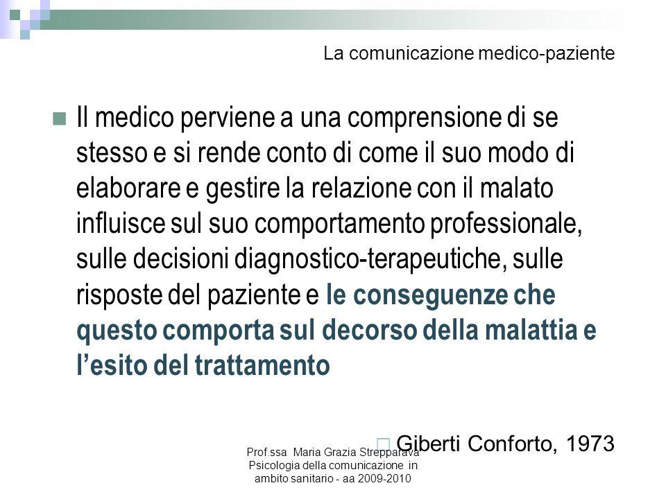 La comunicazione medico-paziente Il medico perviene a una comprensione di se stesso e si rende conto di come il suo modo di elaborare e gestire la rel