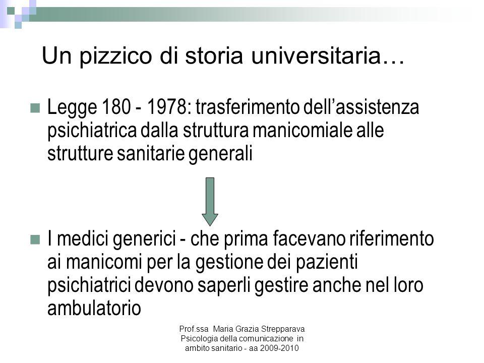 Un pizzico di storia universitaria… Legge 180 - 1978: trasferimento dellassistenza psichiatrica dalla struttura manicomiale alle strutture sanitarie g