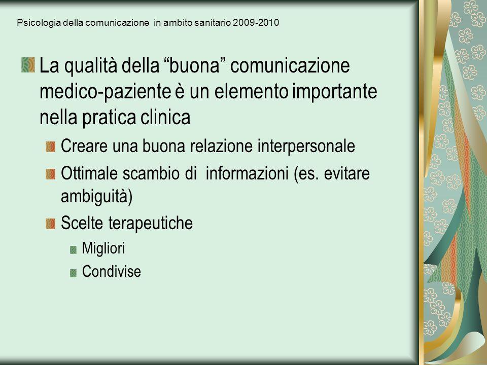 Psicologia della comunicazione in ambito sanitario 2009-2010 La qualità della buona comunicazione medico-paziente è un elemento importante nella prati