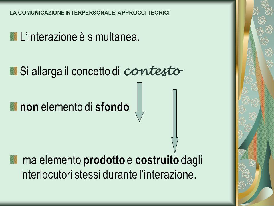 LA COMUNICAZIONE INTERPERSONALE: APPROCCI TEORICI Linterazione è simultanea. Si allarga il concetto di contesto non elemento di sfondo ma elemento pro