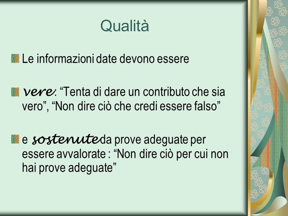 Qualità Le informazioni date devono essere vere : Tenta di dare un contributo che sia vero, Non dire ciò che credi essere falso e sostenute da prove a