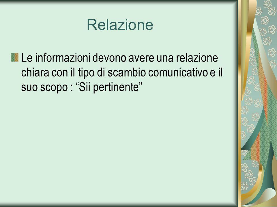 Relazione Le informazioni devono avere una relazione chiara con il tipo di scambio comunicativo e il suo scopo : Sii pertinente