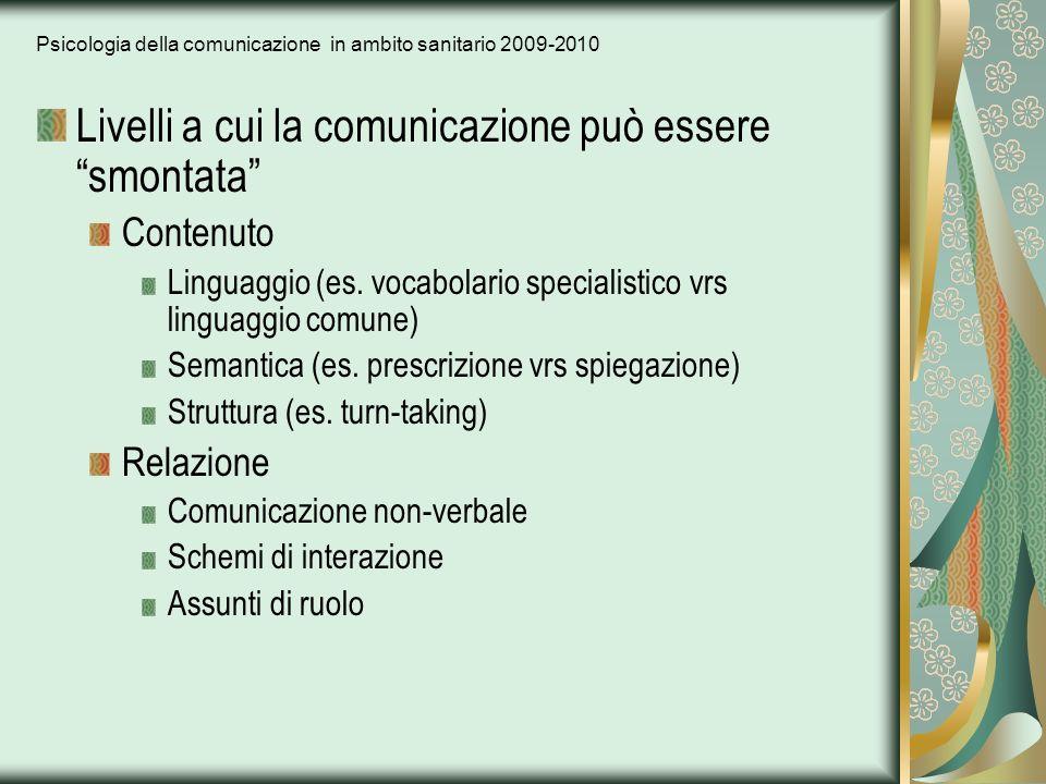 Psicologia della comunicazione in ambito sanitario 2009-2010 Livelli a cui la comunicazione può essere smontata Contenuto Linguaggio (es. vocabolario