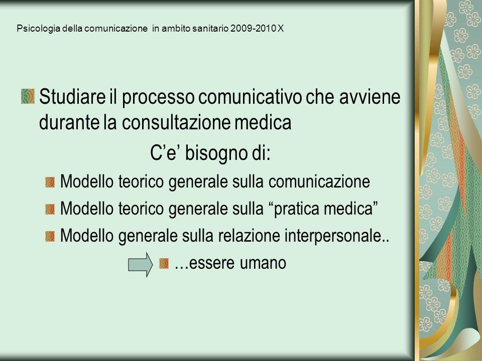 Psicologia della comunicazione in ambito sanitario 2009-2010 X Studiare il processo comunicativo che avviene durante la consultazione medica Ce bisogn