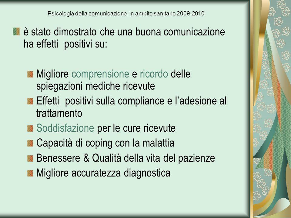 Psicologia della comunicazione in ambito sanitario 2009-2010 è stato dimostrato che una buona comunicazione ha effetti positivi su: Migliore comprensi