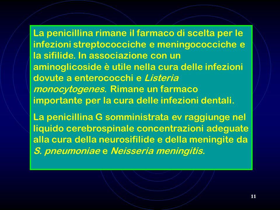11 La penicillina rimane il farmaco di scelta per le infezioni streptococciche e meningococciche e la sifilide. In associazione con un aminoglicoside