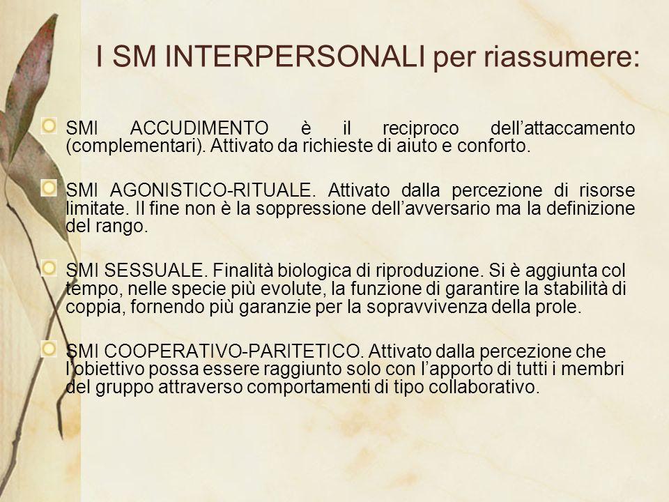 I SM INTERPERSONALI per riassumere: SMI ACCUDIMENTO è il reciproco dellattaccamento (complementari). Attivato da richieste di aiuto e conforto. SMI AG