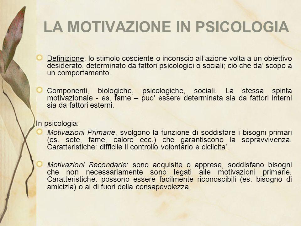 LA MOTIVAZIONE IN PSICOLOGIA Definizione: lo stimolo cosciente o inconscio allazione volta a un obiettivo desiderato, determinato da fattori psicologi