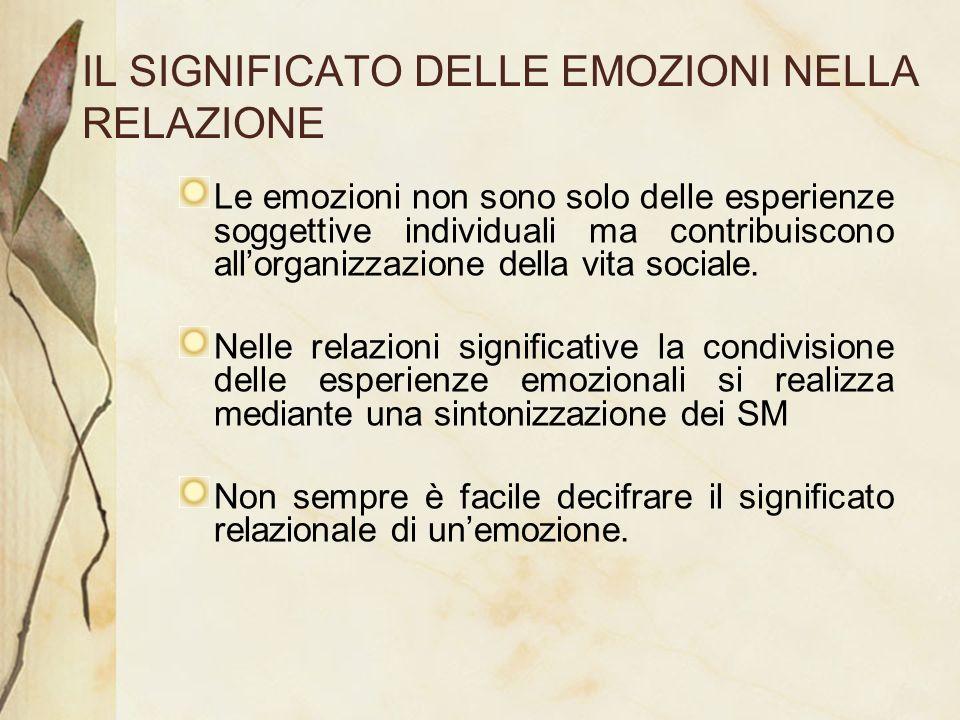 IL SIGNIFICATO DELLE EMOZIONI NELLA RELAZIONE Le emozioni non sono solo delle esperienze soggettive individuali ma contribuiscono allorganizzazione de