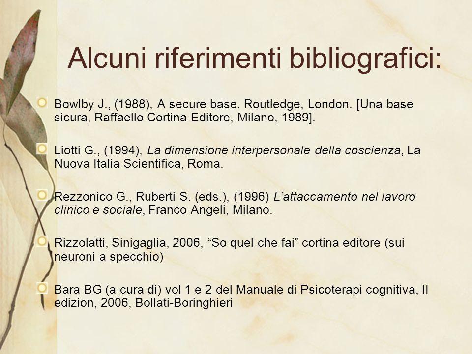Alcuni riferimenti bibliografici: Bowlby J., (1988), A secure base. Routledge, London. [Una base sicura, Raffaello Cortina Editore, Milano, 1989]. Lio