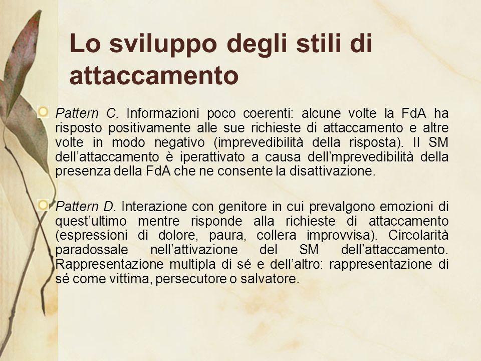 Lo sviluppo degli stili di attaccamento Pattern C. Informazioni poco coerenti: alcune volte la FdA ha risposto positivamente alle sue richieste di att