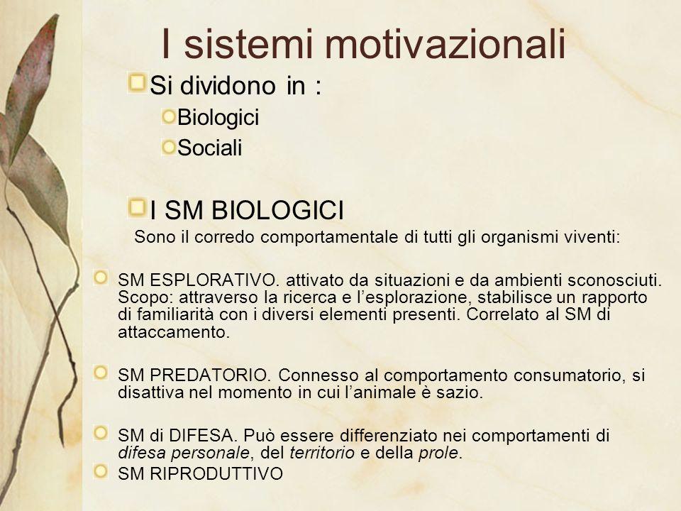I sistemi motivazionali Si dividono in : Biologici Sociali I SM BIOLOGICI Sono il corredo comportamentale di tutti gli organismi viventi: SM ESPLORATI