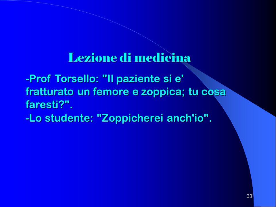 21 Lezione di medicina -Prof Torsello: Il paziente si e fratturato un femore e zoppica; tu cosa faresti? .