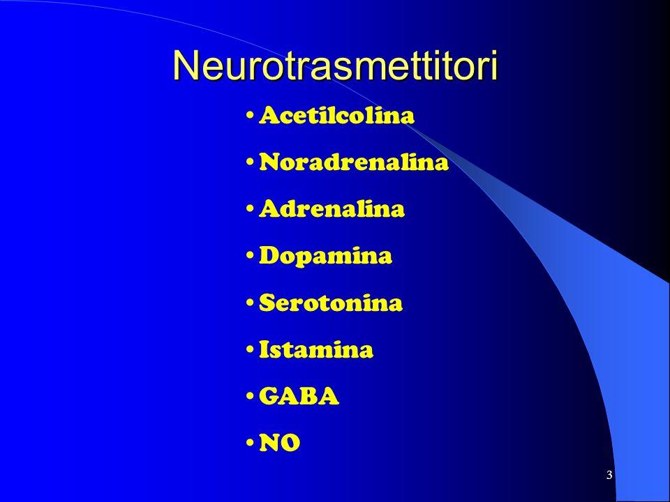 3 Neurotrasmettitori Acetilcolina Noradrenalina Adrenalina Dopamina Serotonina Istamina GABA NO