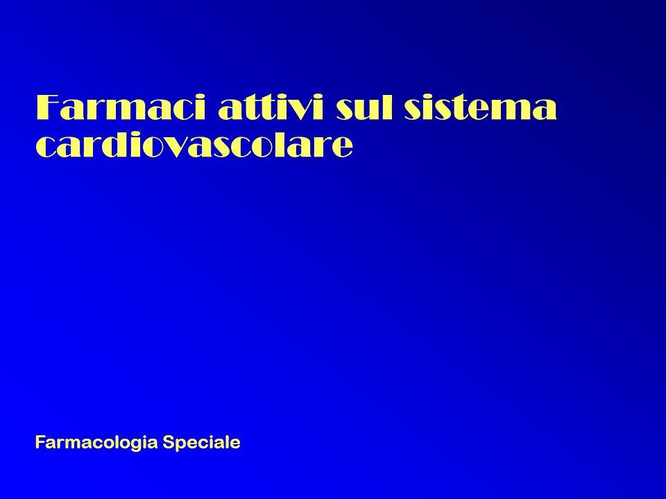 Farmaci attivi sul sistema cardiovascolare Farmacologia Speciale