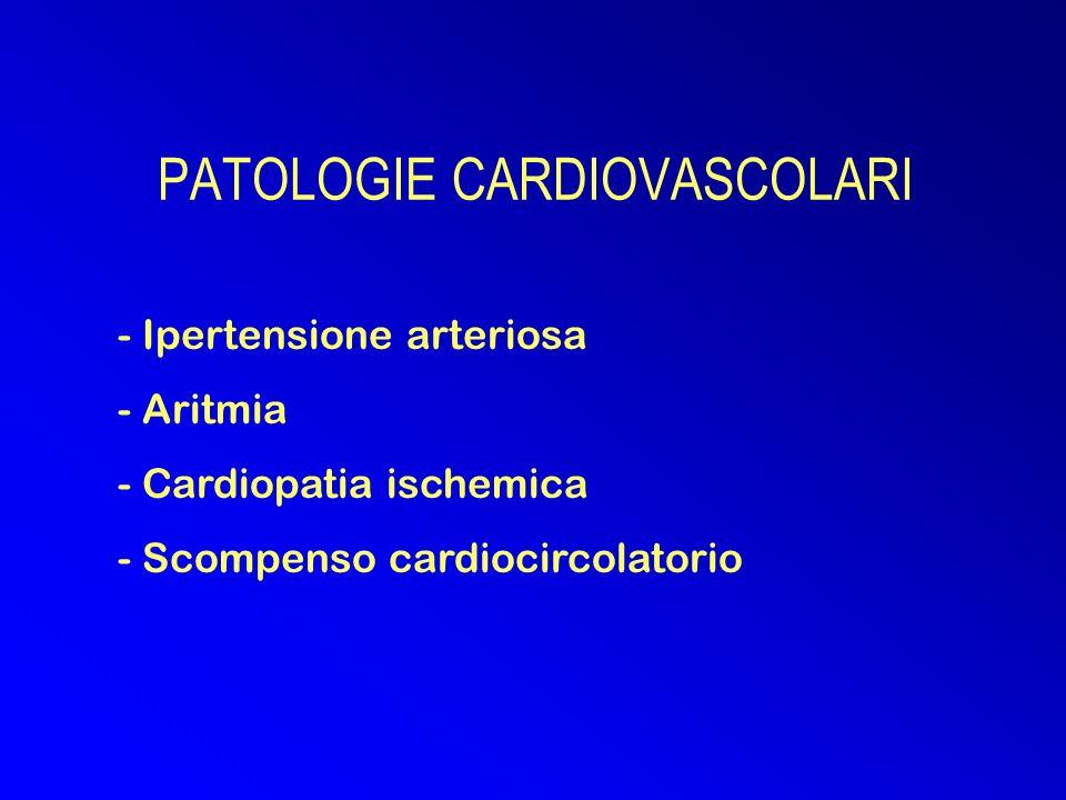 PATOLOGIE CARDIOVASCOLARI - Ipertensione arteriosa - Aritmia - Cardiopatia ischemica - Scompenso cardiocircolatorio