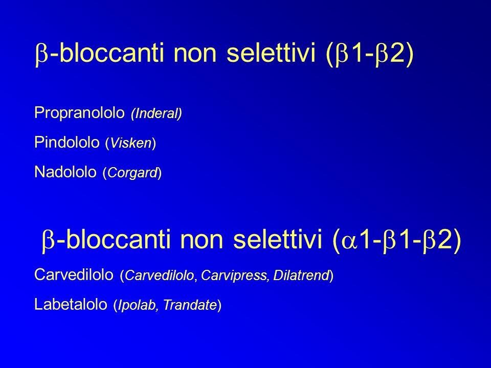-bloccanti non selettivi ( 1- 2) Propranololo (Inderal) Pindololo (Visken) Nadololo (Corgard) -bloccanti non selettivi ( 1- 1- 2) Carvedilolo (Carvedilolo, Carvipress, Dilatrend) Labetalolo (Ipolab, Trandate)