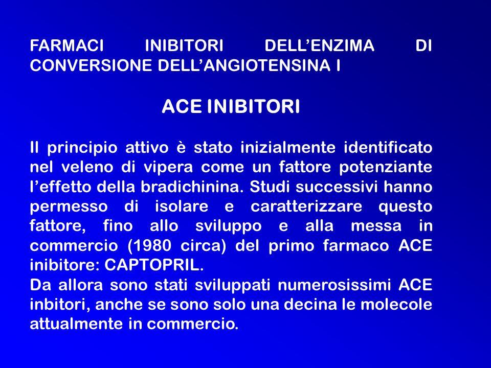 FARMACI INIBITORI DELLENZIMA DI CONVERSIONE DELLANGIOTENSINA I ACE INIBITORI Il principio attivo è stato inizialmente identificato nel veleno di vipera come un fattore potenziante leffetto della bradichinina.