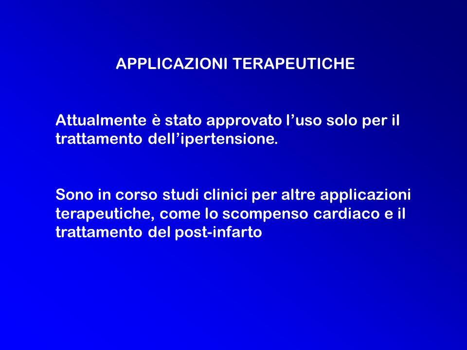 APPLICAZIONI TERAPEUTICHE Attualmente è stato approvato luso solo per il trattamento dellipertensione.