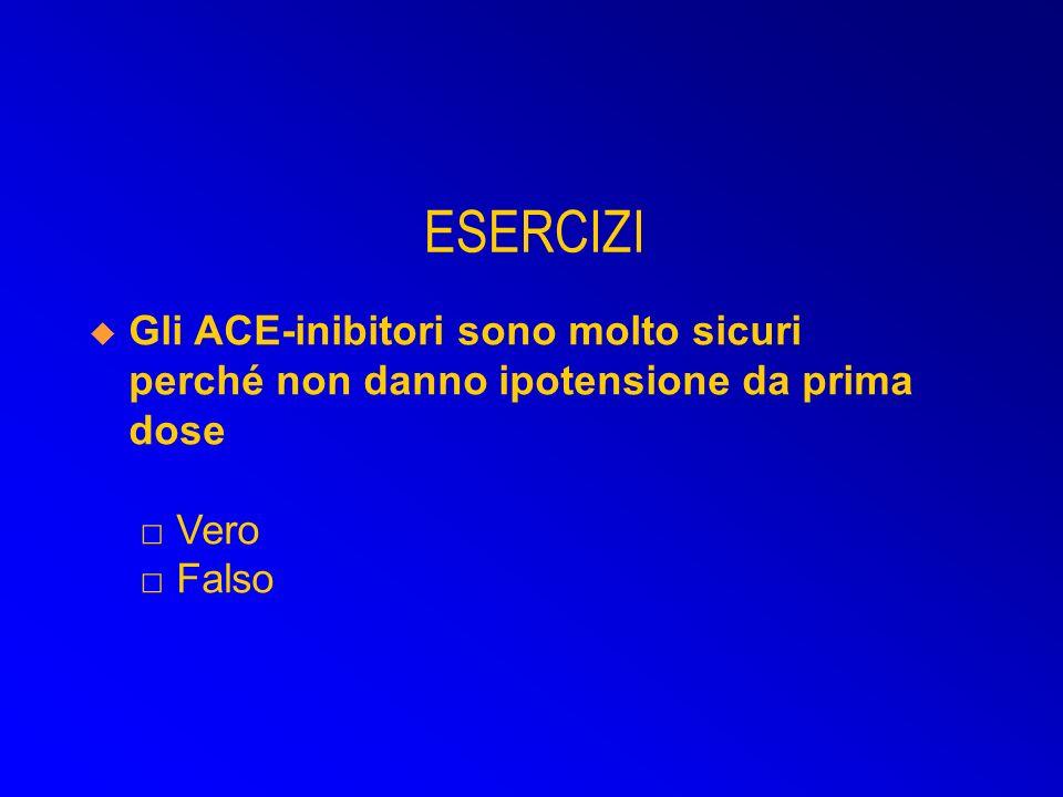 Gli ACE-inibitori sono molto sicuri perché non danno ipotensione da prima dose Vero Falso ESERCIZI