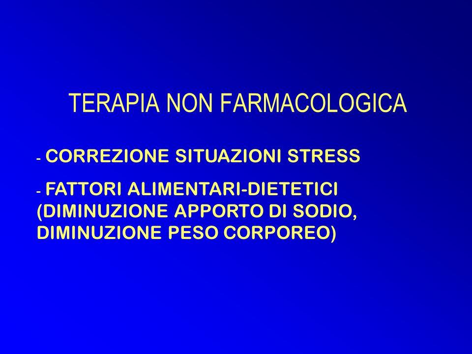 TERAPIA NON FARMACOLOGICA - CORREZIONE SITUAZIONI STRESS - FATTORI ALIMENTARI-DIETETICI (DIMINUZIONE APPORTO DI SODIO, DIMINUZIONE PESO CORPOREO)